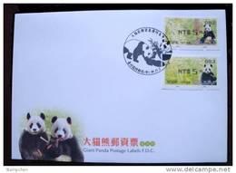 FDC Taiwan 2010 Giant Panda Bear ATM Frama Stamps-- Black Imprint- Bamboo Bears WWF
