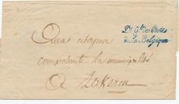 957/24 - SUPERBE Bande D' Imprimé Griffe (recto) Et Cachet (verso) En Bleu Dr Gal Des Postes De La Belgique Vers LOKEREN - 1794-1814 (French Period)