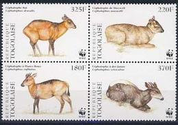 MDW-BK1-024 MDA MINT PF/MNH ¤ TOGOLAISE 1996 4w In Serie ¤ WWF - WILD - ENDANGERED ANIMALS
