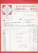 FACTURE DE GUERRE 1940 CARTONNERIES DE GUYENNE ET D ANJOU A CHOLET MAINE ET LOIRE - Francia