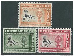 Guinée PA N° 16  / 18  XX  Eradication Du Paludisme, Les 3 Valeurs Sans Charnière  TB