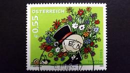 Österreich 2444 Oo/used, Grußmarke, Comicfigur TomTom Mit Blumenstrauß; Von Thomas Kostron (*1965)