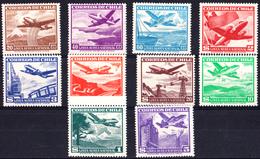CHILI - N°PA128/137** - Timbres De 1950/1953 - Série Complète - LUXE - Chile