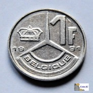 Bélgica - 1 Franc - 1991 - 04. 1 Franco