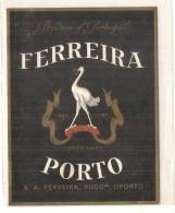 étiquette -  1920/50 - PORTO  FERREIRA  - Oporto - Animaux - Echassier Et Fer à Cxheval - Rode Wijn