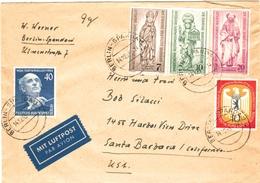 Berlin 128 + 132-134 Etc. Als MiF Auf Sammler- Luftpost- Ausl.- Brief Von Berlin - Spandau 1955 In Die USA
