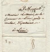 962/24 - Précurseur FRANCE PARIS 60 Port Payé 1804 Vers LIERRE - Port Encre 8 Décimes Au Verso - 1794-1814 (French Period)
