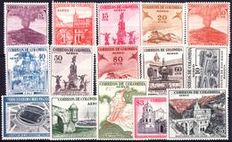 COLOMBIE - N°PA238/252** - 1954 -  VOLCAN - PORT - STADE...Série Complète De 15 Valeurs - LUXE.