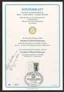 ROTARY INT: 1993 Philatelic Documents Of Off Visit Of Pres Dochterman, Signed