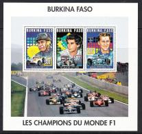 CARS - BURKINO FASO -1995- FORMULA ONE DRIVERS SHEETLET OF 3  MINT NEVER HINGED