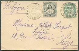 N°111 - 5 Cent. BLANC + Vignette REINARE Obl. Dc NICE Pl.GRIMALDI S/env. Carte De Visite Du 12-1-1903 Vers Liège. - Sup - 1900-29 Blanc