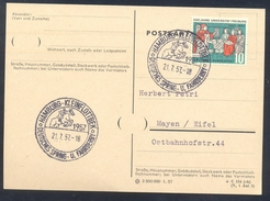 Germany Deutschland 1957 Card: Cavallo Horse Pferd Cheval: Equestrian; Deutsches Spring Und Fahrderby Hamburg Universe