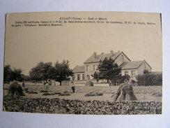 Carte Postale Ancienne 89 Yonne Cudot Ecole Et Mairie Marche Le Mercredi - Saint Julien Du Sault