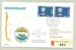 Schweiz - 1962 - 2x 50c Anti Malaria On R-Swissair Special Flight To Santiago De Chile