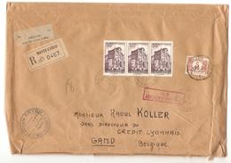 Monaco Lettre Recommandée C.Monte-Carlo 1956 étiq.verte De La Douane V.Gand Belgique Taxée 5 Fr Par TTx 62 PR4062