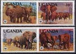 MDW-BK1-037 MDA MINT PF/MNH ¤ UGANDA 1983 4w In Serie ¤ WWF - WILD ELEPHANTS - ENDANGERED ANIMALS