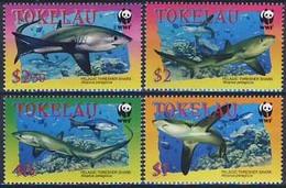 MDW-BK1-038 MDN MINT PF/MNH ¤ TOKELAU 2002 4w In Serie ¤ WWF - SHARKS  - ENDANGERED ANIMALS