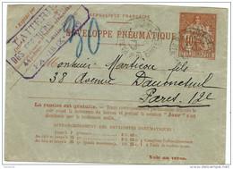 LBON10- ENV PNEUMATIQUE CHAPLAIN 40c  ROSE OBL. PARIS RUE DE CHATEAU LANDON