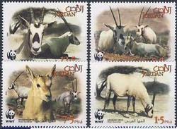 MDW-BK1-043 MDA MINT PF/MNH ¤ JORDAN 2005 4w In Serie ¤ WWF - WILD - ENDANGERED ANIMALS
