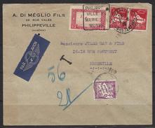 Daguin Des Colonies, Philippeville, Constantine Pour Marseille Par Avion, Taxée TB - Autres