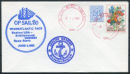 1980 Belgium ZENOBE GRAMME Ship Cover. Operation Sail Boston USA Paquebot - Covers & Documents