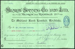 1925 Milnrow Spinning Co, Rochdale, Lancashire, Midland Bank. Loan Interest Payment Document - Textile