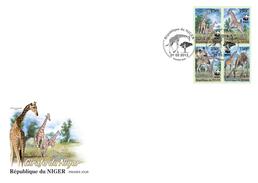 NIGER 2013 - WWF. Giraffes FDC IMPERFORATED - YT 1776-9, Mi 2142-5B, Sc 1124