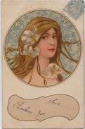 CPA Art Nouveau Circulé Style Mucha - 1900-1949