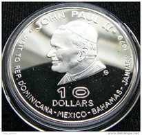 Dominica 10 $ 1978 Papa Visit Pope Paul John II Silver Proof - Monnaies