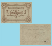 Greenland 25 Oere 1875 .g. .G. - REPROCTIONS -( X017 ) - COPY - Groenland
