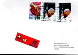 URUGUAY   Lettre  Recommandée Papillons Pape Jean Paul II