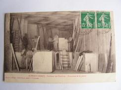 Carte Postale Ancienne 89 Aubigny Taingy Interieur Des Carrieres Extraction De La Pierre Ouvriers Vieux Metier - Autres Communes