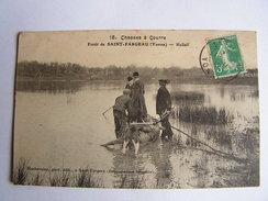 Carte Postale Ancienne 89 Saint Fargeau La Chasse A Courre Hallali Cerf - Saint Fargeau