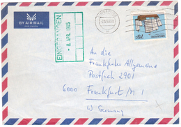 AZ151    Singapore 1985 Air Mail Postal Used Cover Singapore To Germany Ship Stamps