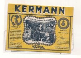 étiquette Parafinée  -  1920/50 - Kermann Jaune étiquette Flask - - Whisky