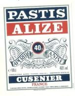 étiquette -  1960/99 - Pastis Alizé - Par Cusenier - - Whisky