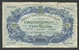 BELGIUM - 500 Francs  1930  P103a/B79a    ( Banknotes ) - 500 Francs-100 Belgas