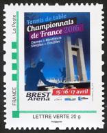 FRANCE 2016 - Chts De France à Brest (29) - Timbre Personnalisé - Tennis Table Tischtennis Tavolo - Tischtennis