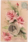 KLEIN - Rose Et Muguet Avec Photo D'une Femme, Carte Gauffrée - Dos Simple - Klein, Catharina
