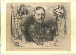 FRANCE . LE MARECHAL CASTELLANE DECEDE A LYON . GRAVURE SUR BOIS DU XIXe S. DECOUPEE ET COLLEE SUR PAPIER . - Documents