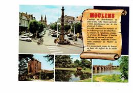Cpm - 03 - MOULINS - Multivues - Affiche Corrida Taureau - Voiture DS CITROEN Mobylette