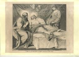 LA MORT DE SAINT JOSEPH . GRAVURE SUR BOIS DU XIXe S. DECOUPEE ET COLLEE SUR PAPIER . - Religion & Esotérisme