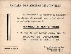 Amicale Des Anciens De JOINVILLE (94) Invitation Au Bal Au Salon De L' Hermitage - 1938    (95395) - Anuncios