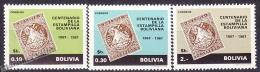 Bolivia 1968 Yvert 479- 81, Centenary Of The Stamp - MNH