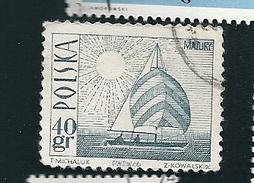 N° 1557 Bateau Sur Lac De Mazurie    Timbre  Pologne Oblitéré Polska 1966