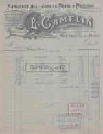 93 1083 MONTREUIL SOUS BOIS SEINE 1924  Jouets Metal Musique E. CAMELIN Jouet Rue J. J. Rousseau MOULINS TROMPETTES - France