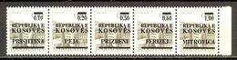 Kosovo - Set Of Five Stamps With Names Of Kosovo Cities, Private Edition  / 2 Scans