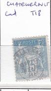 VIENNE - S/90 - 15c Sage Bleu  - Oblit  CAD T18   (  Chatellerault  ) - Marcophilie (Timbres Détachés)