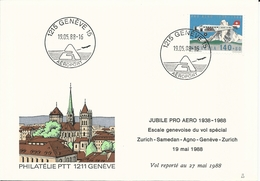 F 49, Pro Aero, Cinquantenaire Fondation Escale Genevoise Vol Spécial, Zurich-Samedan-Agno-Genève-Zurich
