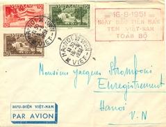 VIÊT-NAM HA-NOI TàD 16-8-1951  CACHET = 16-8-1951 = NGÀY DÂÙ TIÊN BAN TEM VIÊT-NAM TOÀN BÔ - 1ERE JOURNEE DE LA VENTE  .